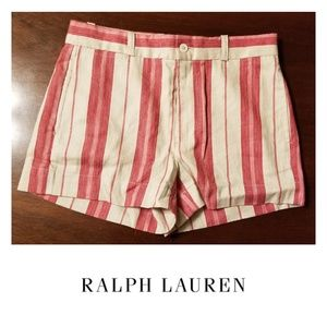 Ralph Lauren Rose and Cream Striped Shorts Size 2